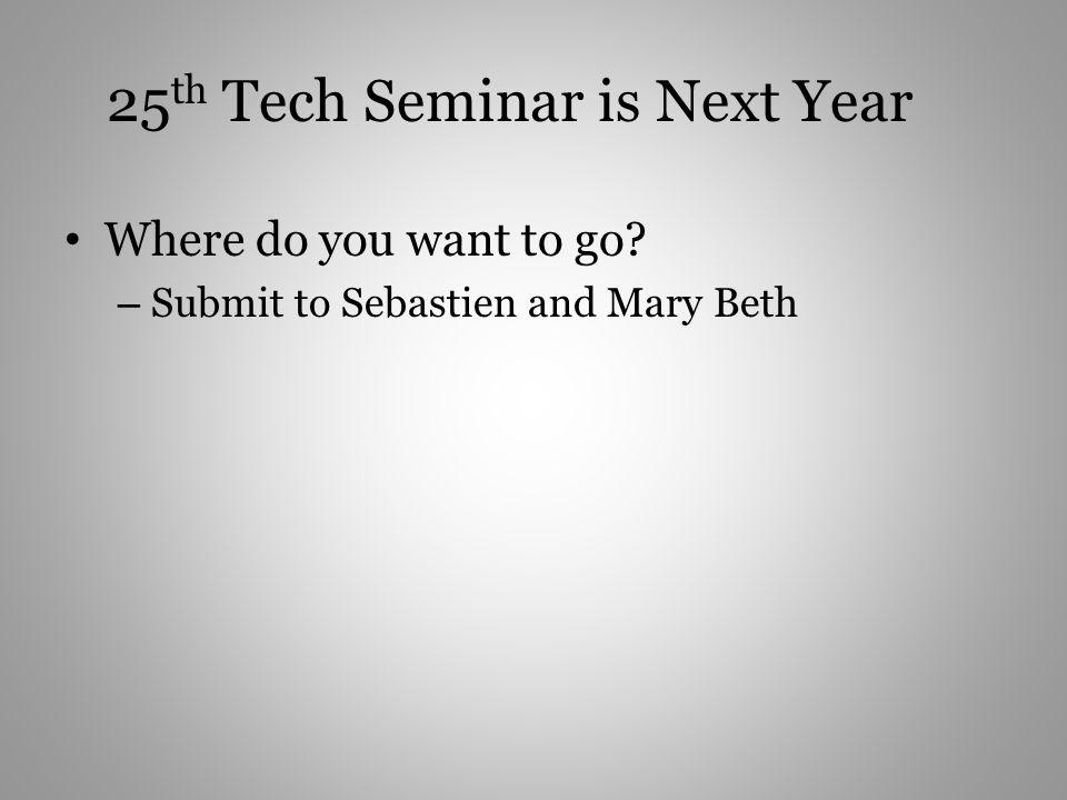 25th Tech Seminar is Next Year