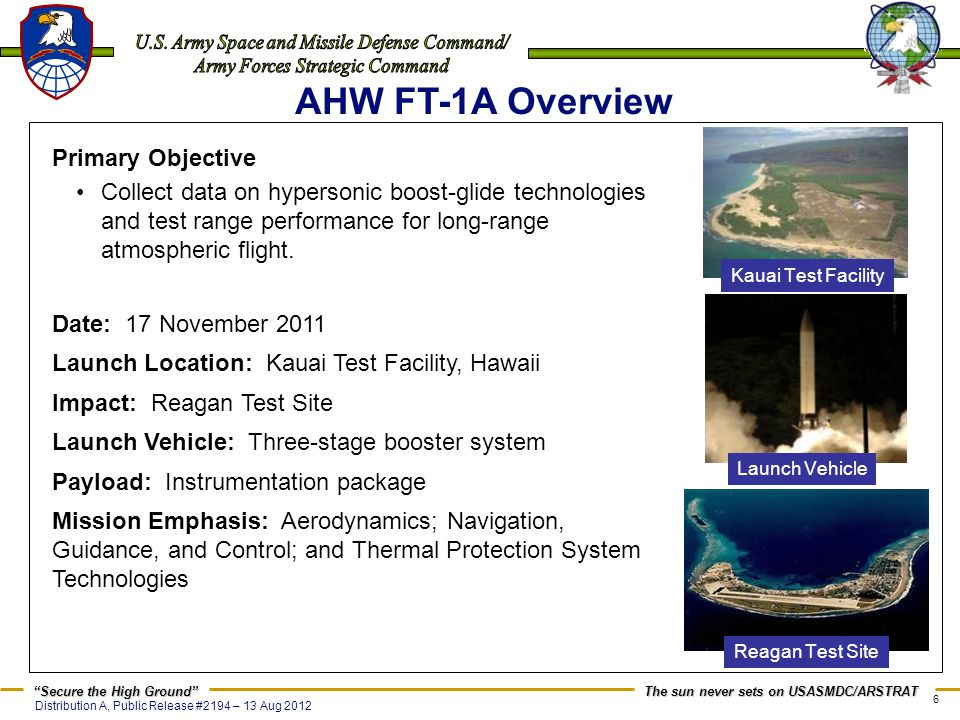 AHW FT-1A Overview Primary Objective
