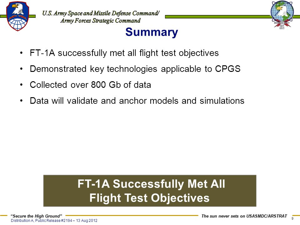 FT-1A Successfully Met All Flight Test Objectives