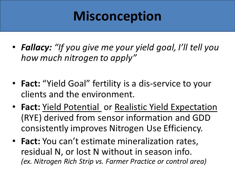 Misconception Fallacy: If you give me your yield goal, I'll tell you how much nitrogen to apply