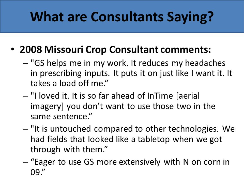 What are Consultants Saying