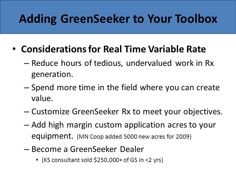 Adding GreenSeeker to Your Toolbox