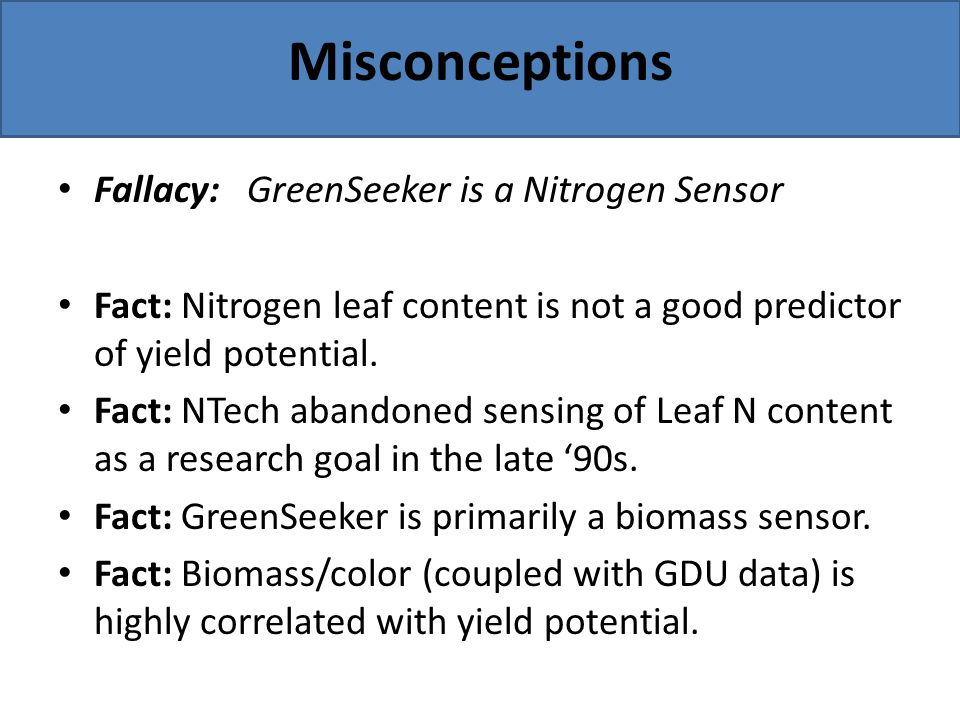 Misconceptions Fallacy: GreenSeeker is a Nitrogen Sensor