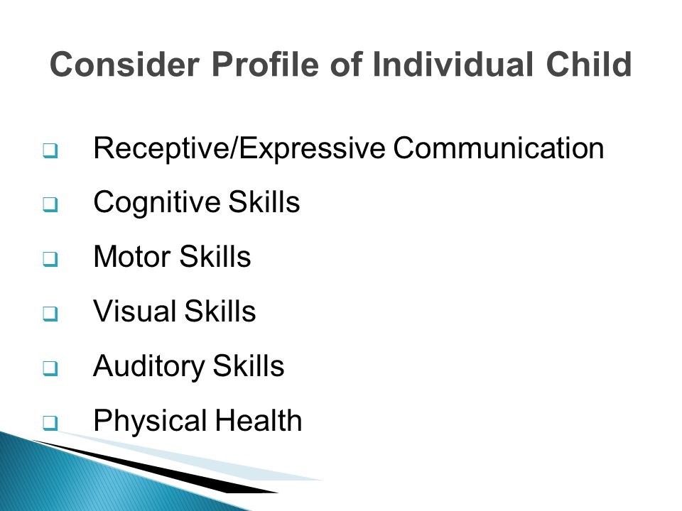 Consider Profile of Individual Child