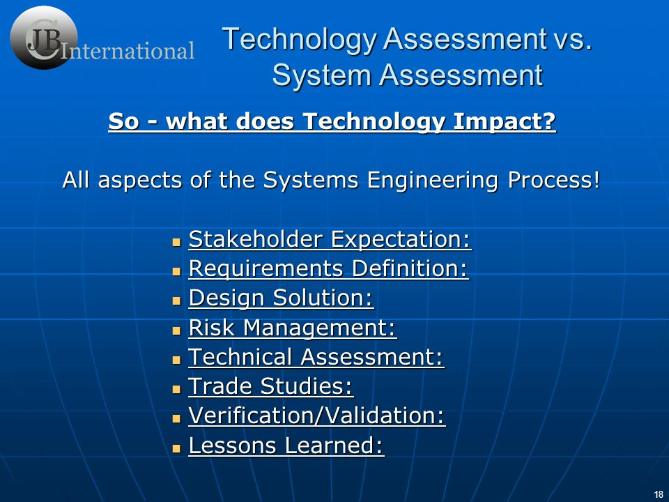 So - what does Technology Impact