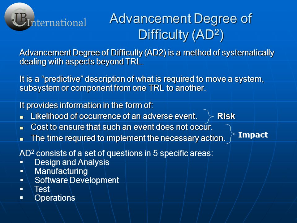 Advancement Degree of Difficulty (AD2)