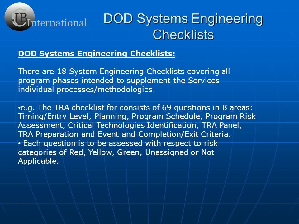 DOD Systems Engineering Checklists