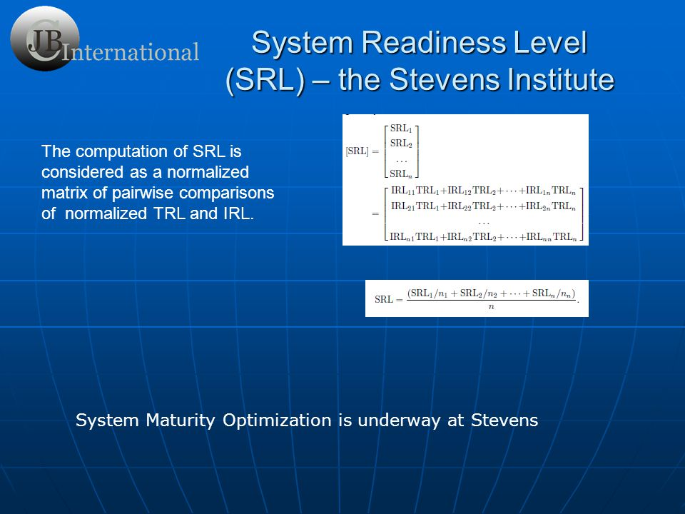 System Readiness Level (SRL) – the Stevens Institute