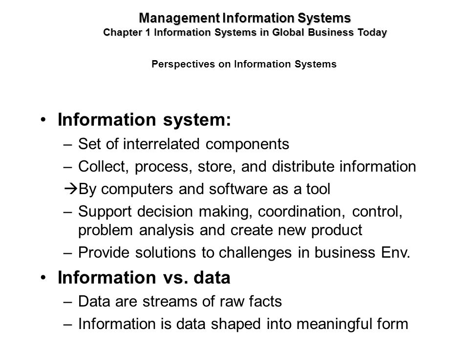 Information system: Information vs. data