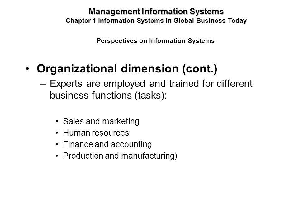 Organizational dimension (cont.)