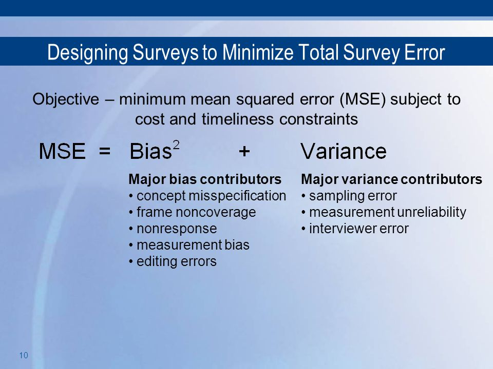 Designing Surveys to Minimize Total Survey Error