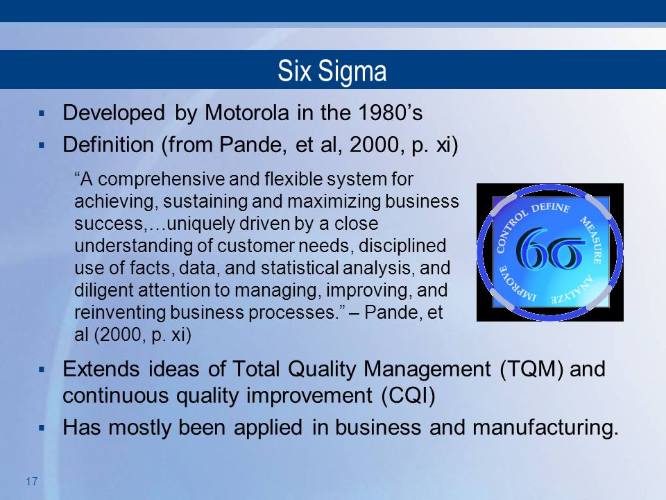 Six Sigma Developed by Motorola in the 1980's