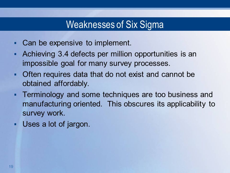 Weaknesses of Six Sigma