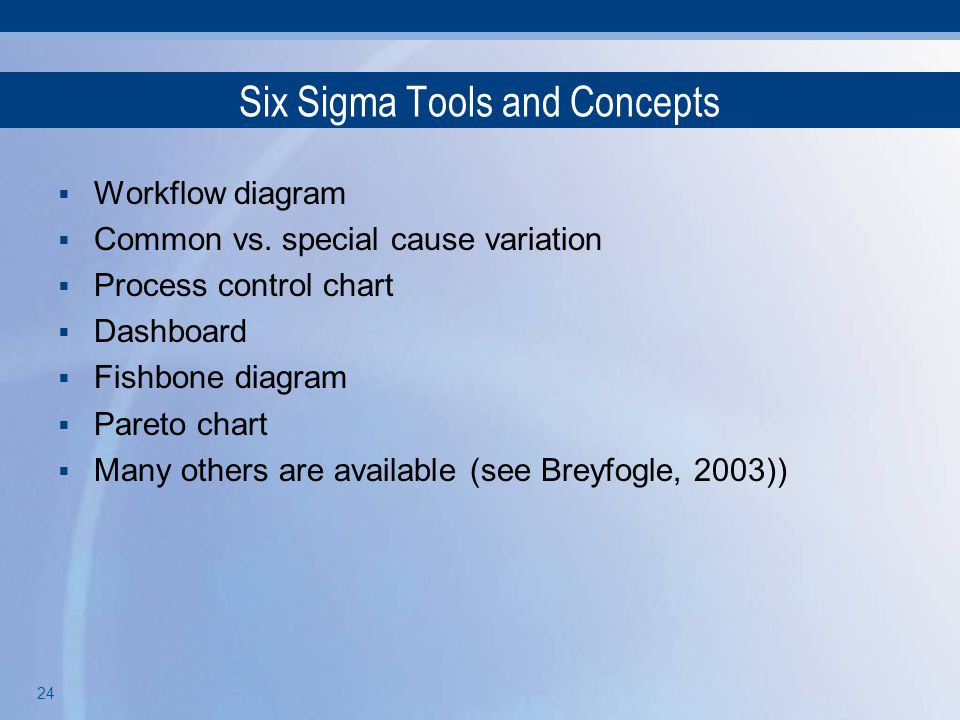 Six Sigma Tools and Concepts