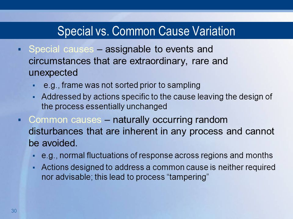 Special vs. Common Cause Variation