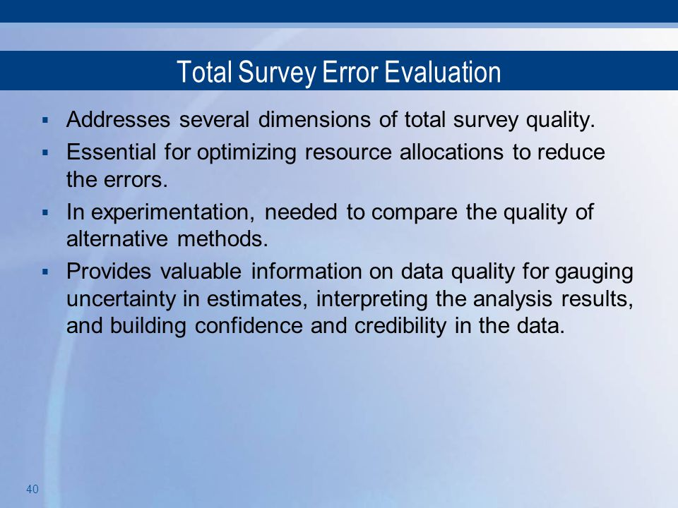 Total Survey Error Evaluation