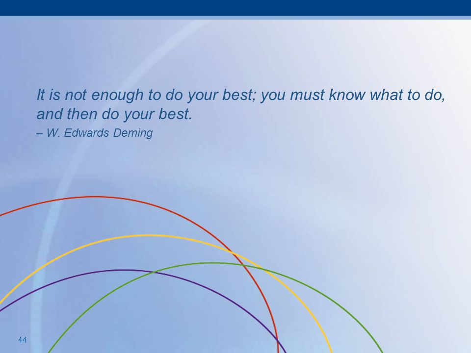 It is not enough to do your best; you must know what to do, and then do your best.