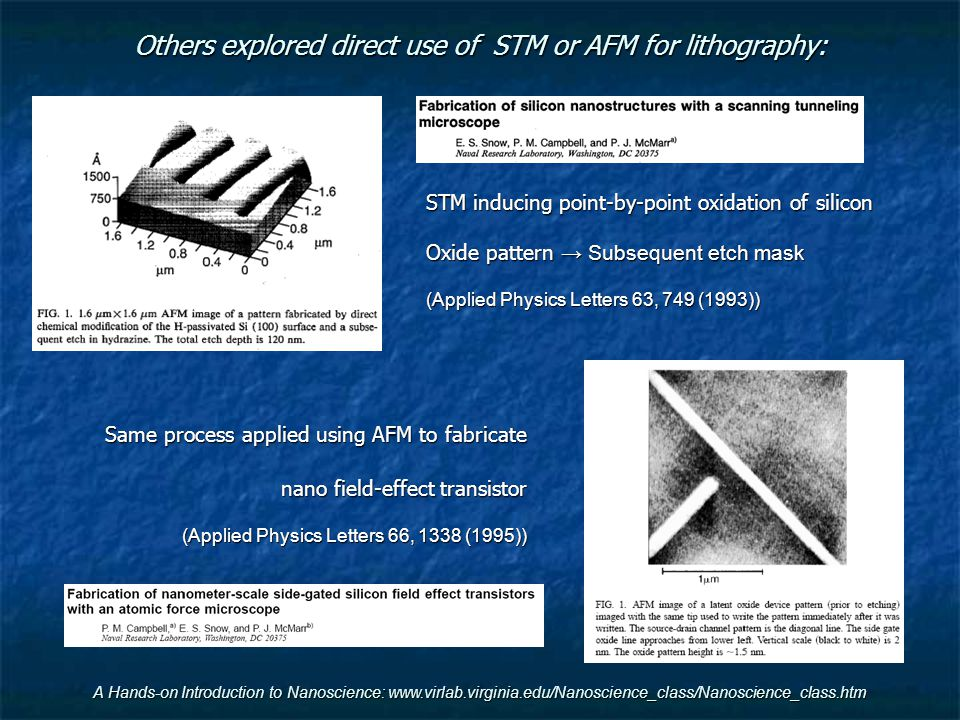 Others explored direct use of STM or AFM for lithography: