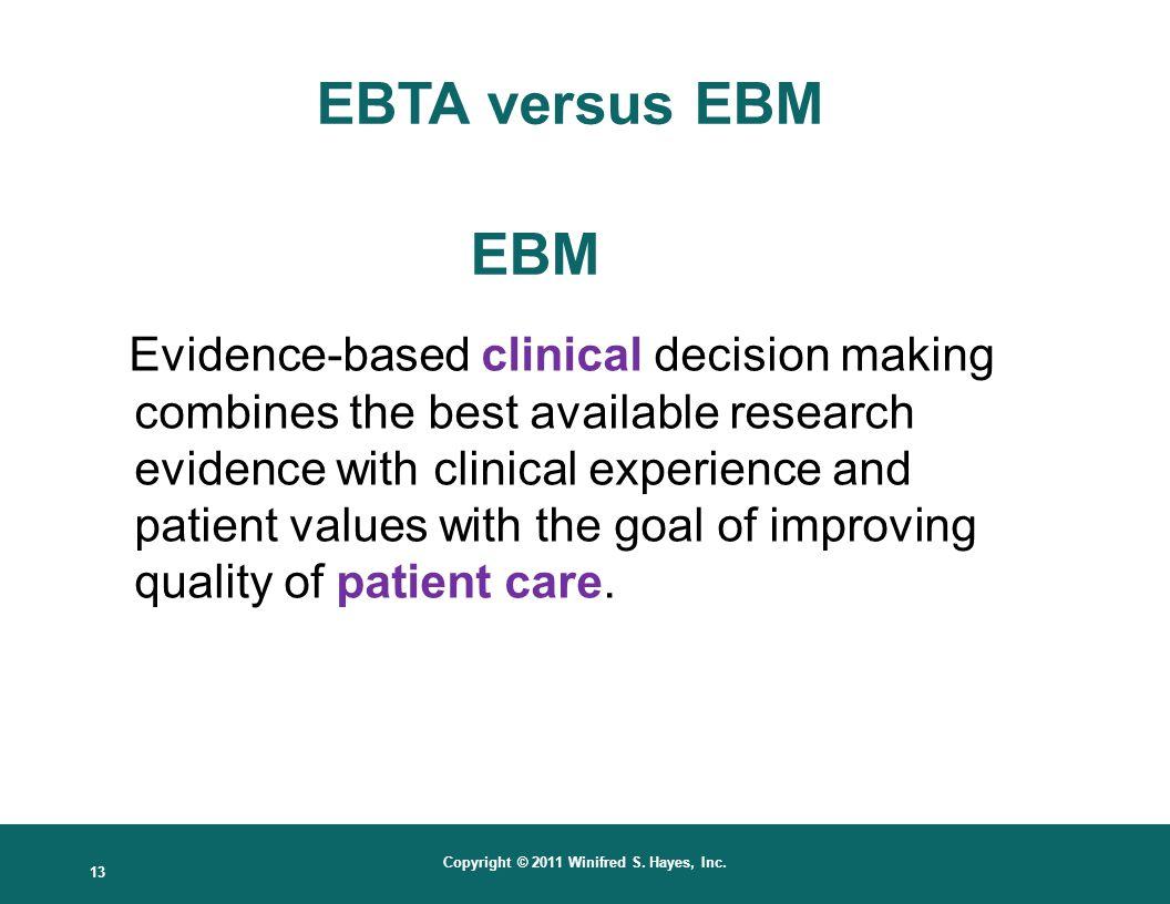 EBTA versus EBM EBM.