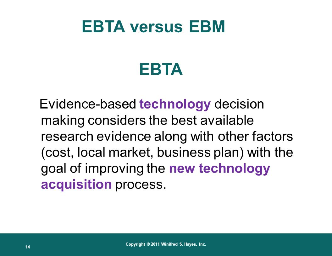 EBTA versus EBM EBTA.