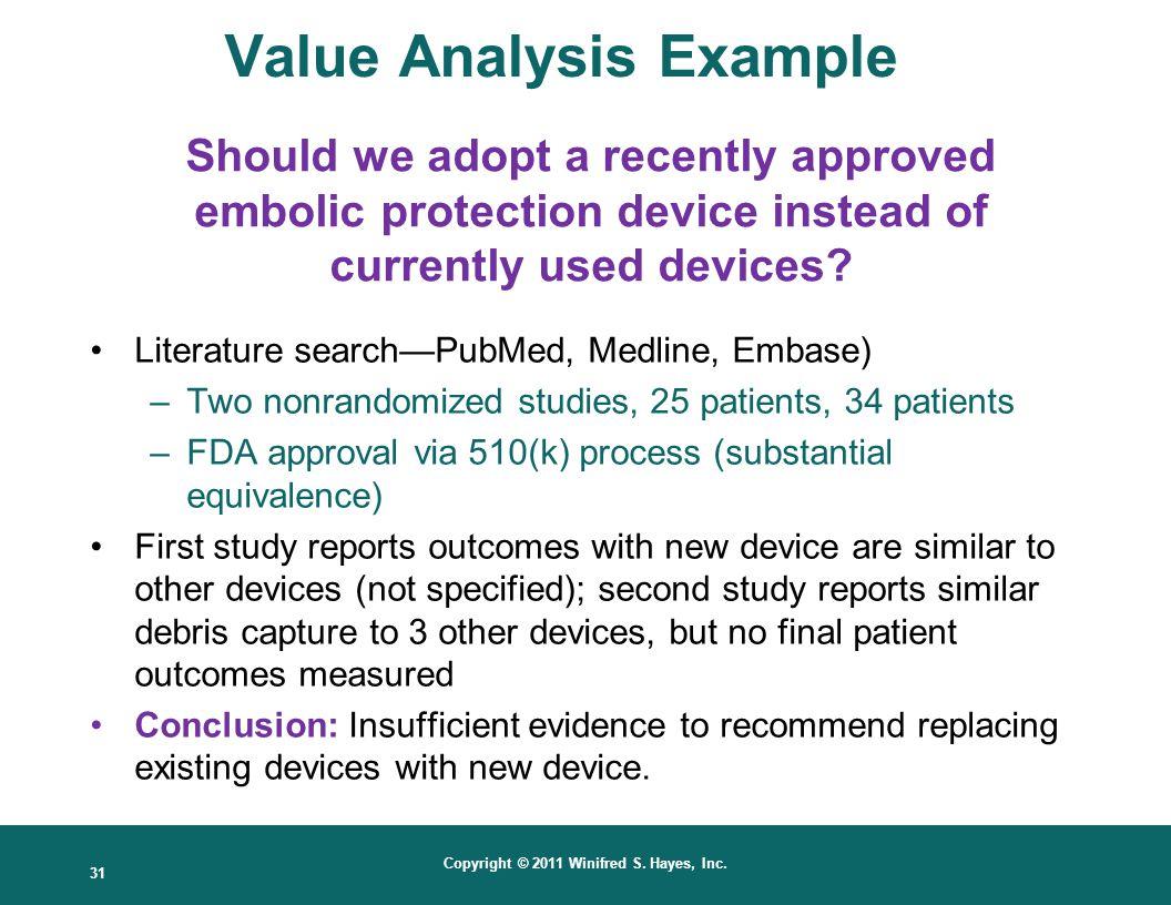 Value Analysis Example