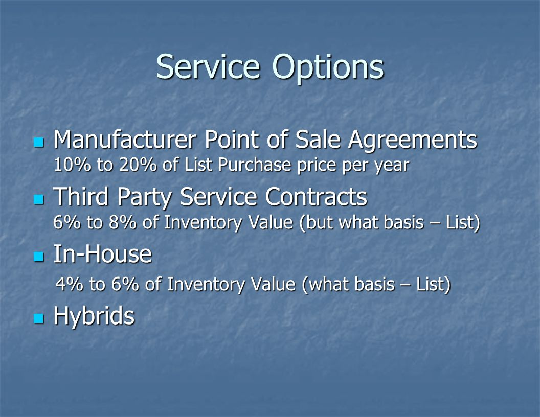 Service Options Manufacturer Point of Sale Agreements 10% to 20% of List Purchase price per year.