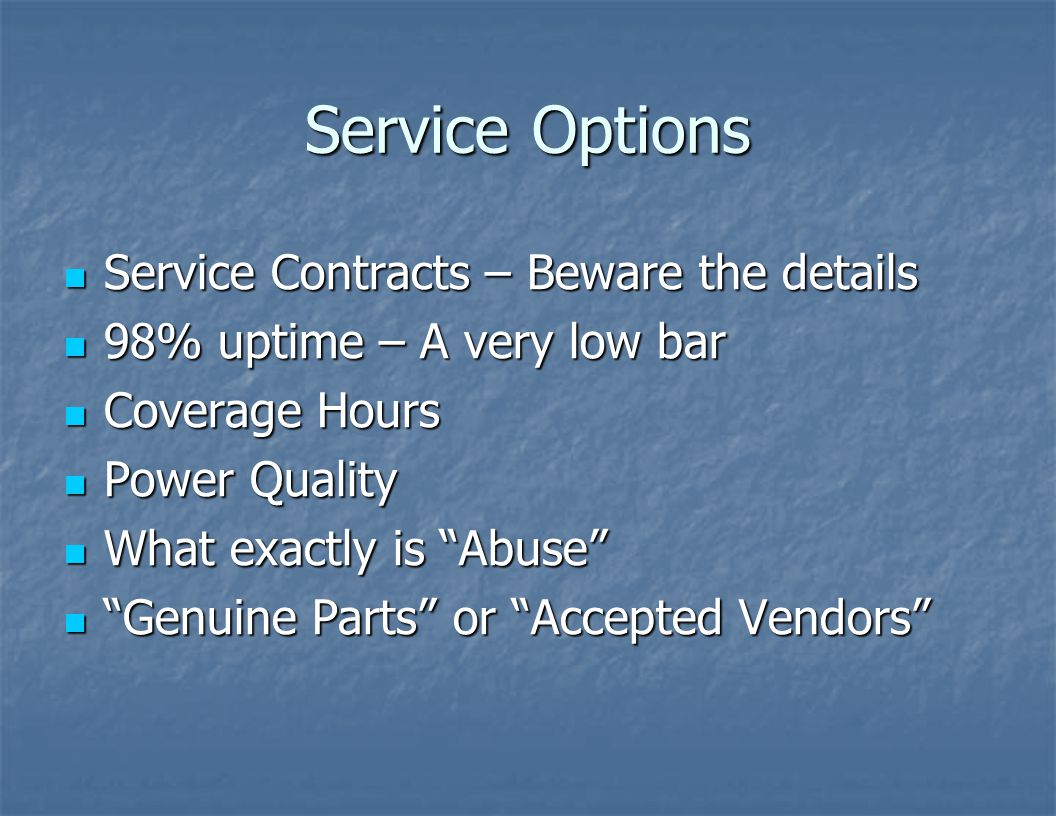Service Options Service Contracts – Beware the details