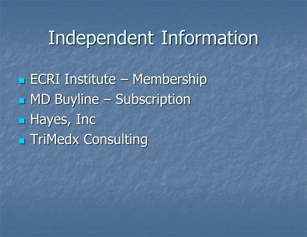Independent Information