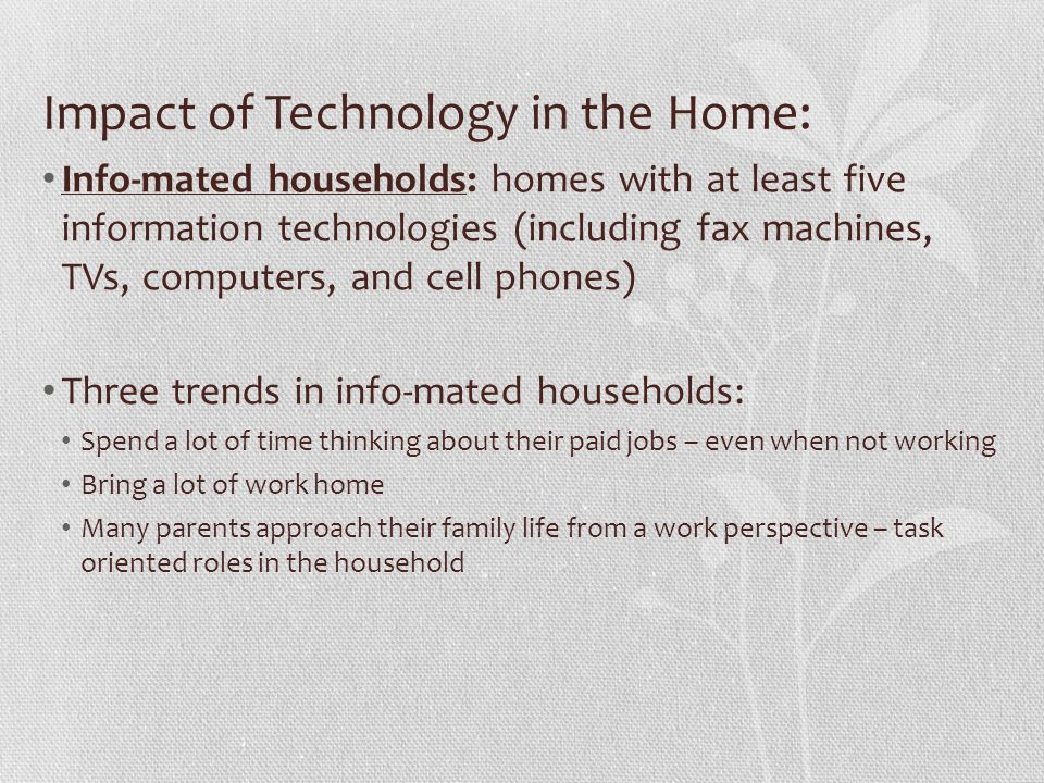 Impact of Technology in the Home: