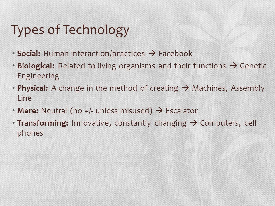 Types of Technology Social: Human interaction/practices  Facebook