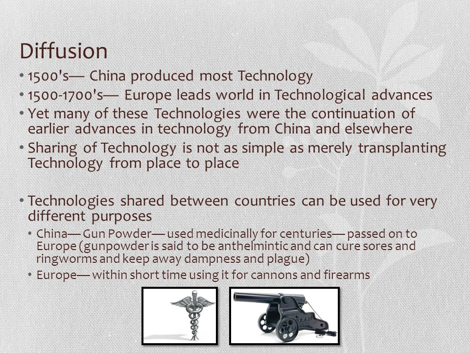 Diffusion 1500 s— China produced most Technology