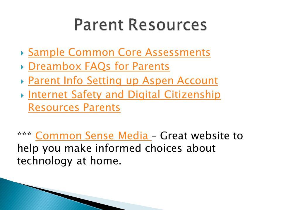 Parent Resources Sample Common Core Assessments