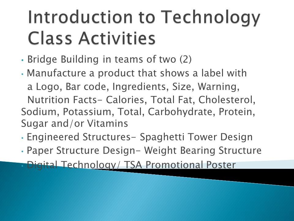 Introduction to Technology Class Activities