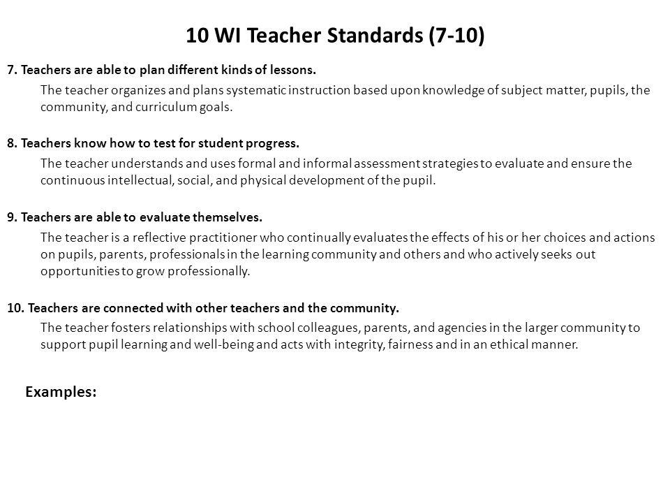 10 WI Teacher Standards (7-10)