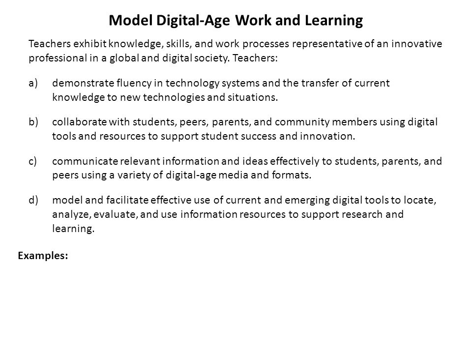 Model Digital-Age Work and Learning