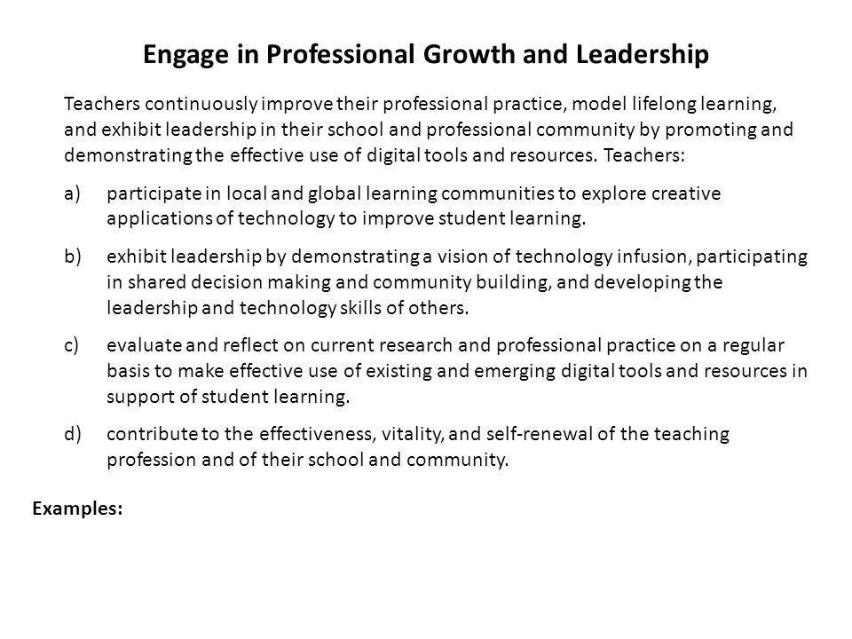Engage in Professional Growth and Leadership