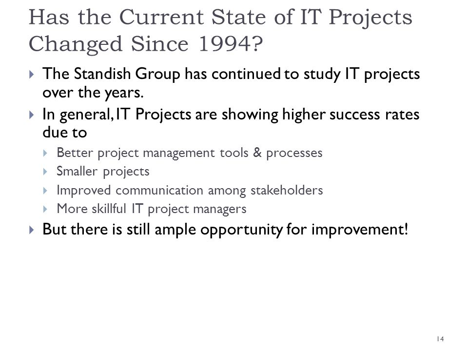 Has the Current State of IT Projects Changed Since 1994