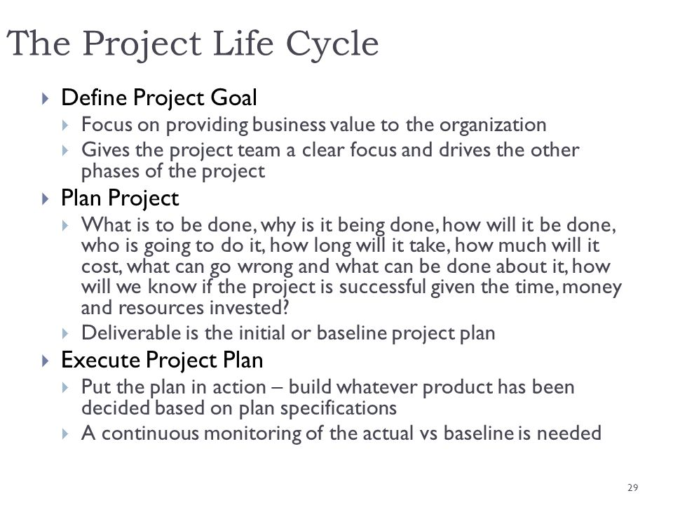 The Project Life Cycle Define Project Goal Plan Project