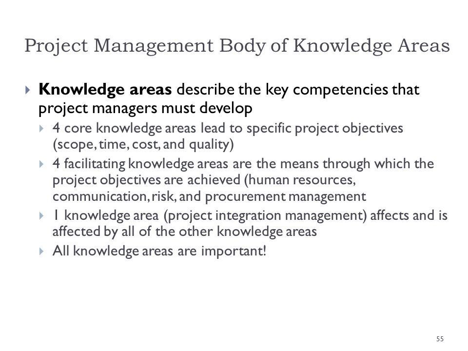 Project Management Body of Knowledge Areas