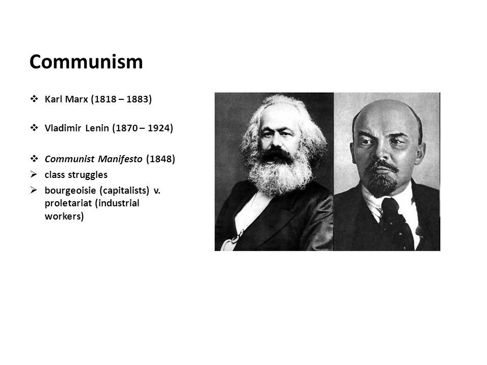 Communism Karl Marx (1818 – 1883) Vladimir Lenin (1870 – 1924)