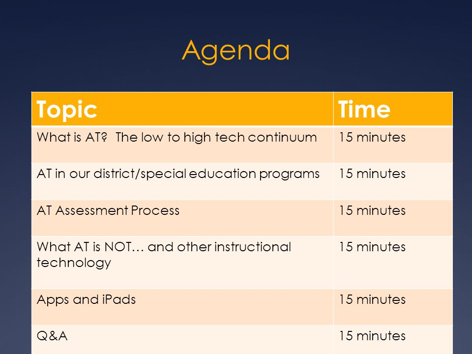Agenda Topic Time What is AT The low to high tech continuum
