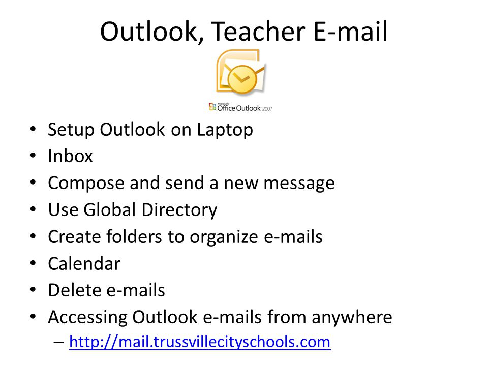 Outlook, Teacher E-mail