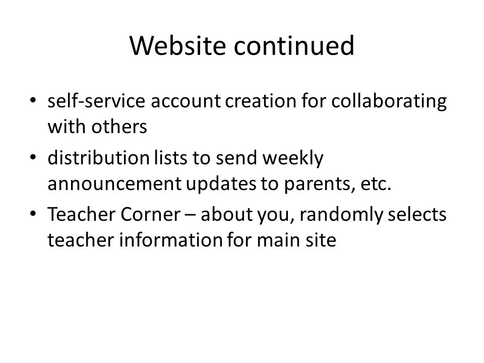 Website continued self-service account creation for collaborating with others.