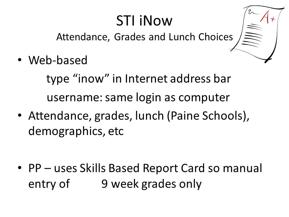 STI iNow Attendance, Grades and Lunch Choices