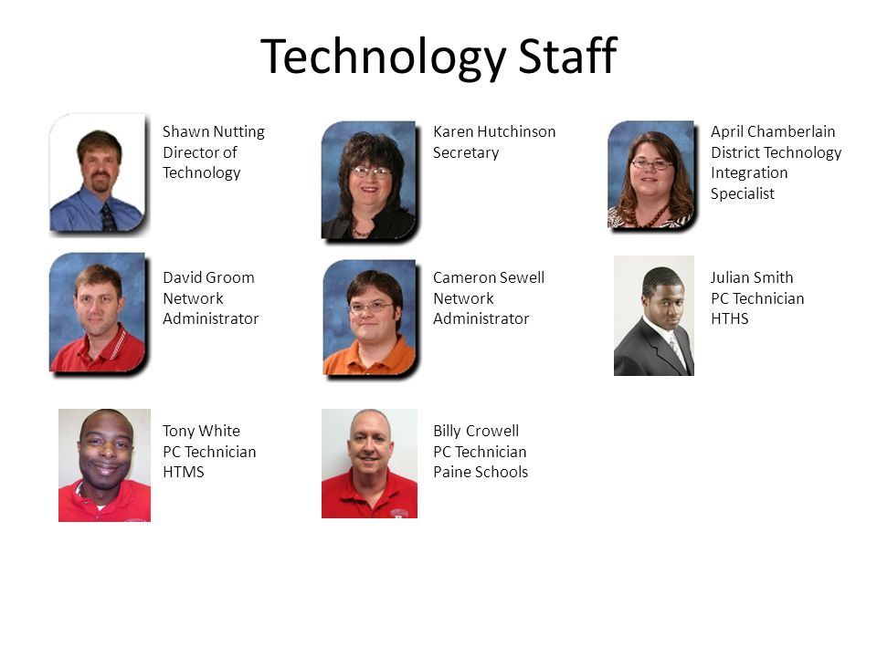 Technology Staff Shawn Nutting Director of Technology Karen Hutchinson