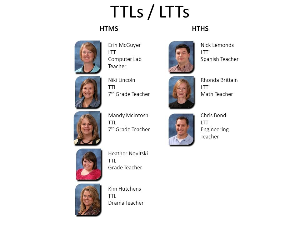 TTLs / LTTs HTMS HTHS Erin McGuyer LTT Computer Lab Teacher