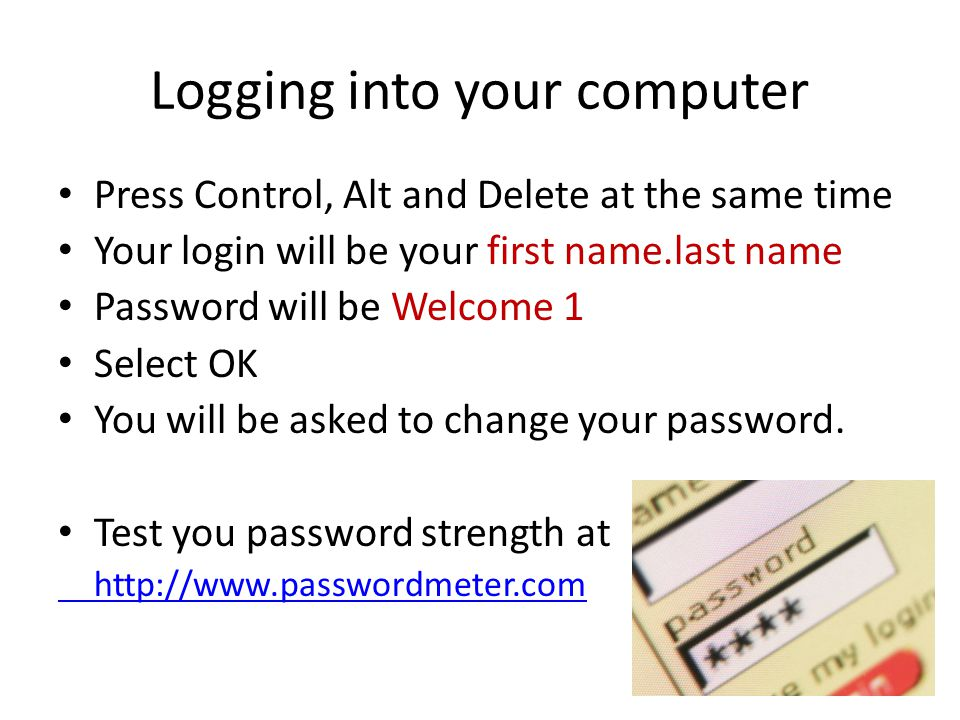 Logging into your computer