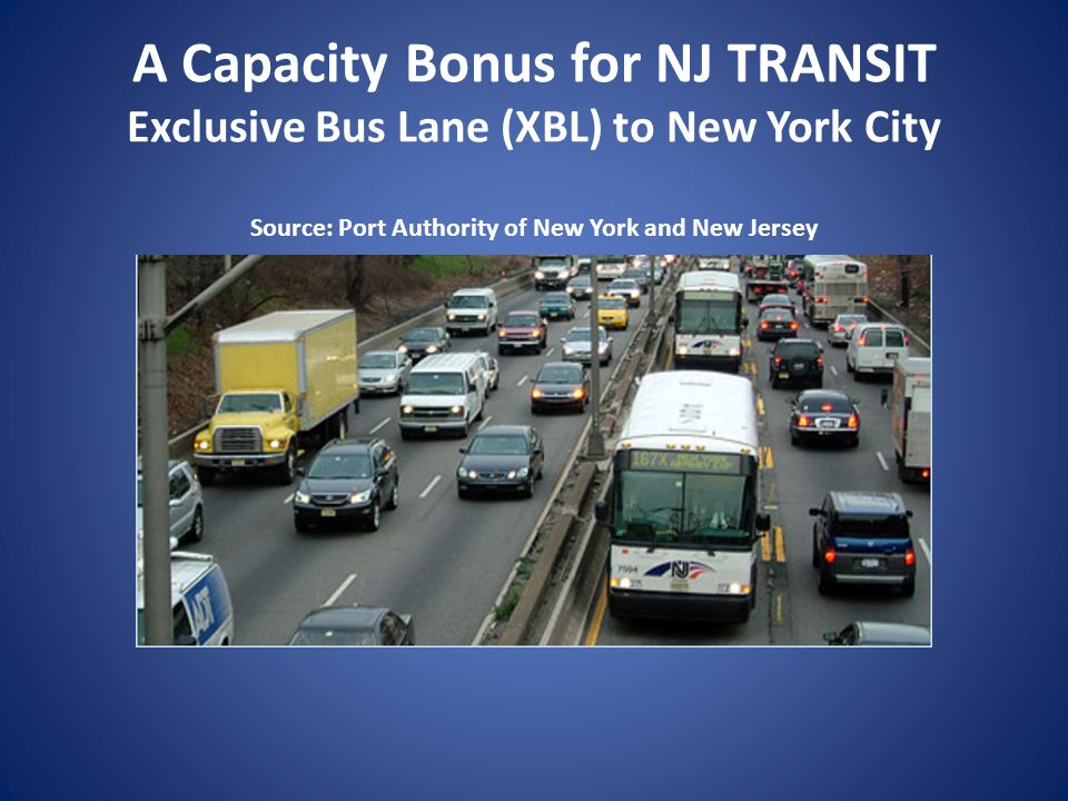 A Capacity Bonus for NJ TRANSIT Exclusive Bus Lane (XBL) to New York City Source: Port Authority of New York and New Jersey