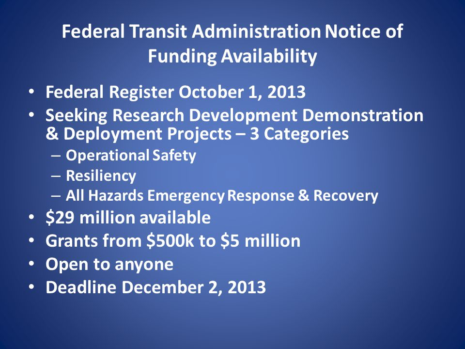 Federal Transit Administration Notice of Funding Availability