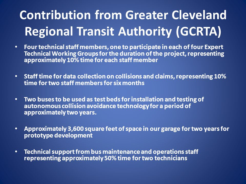 Contribution from Greater Cleveland Regional Transit Authority (GCRTA)